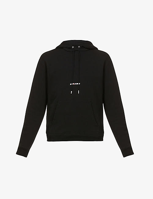 SAINT LAURENT: Brand-print relaxed-fit cotton-jersey hoody