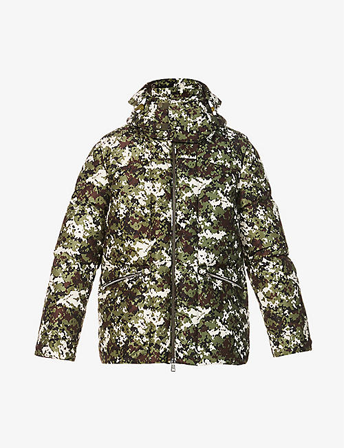 MONCLER: Blanc camouflage-print shell-down jacket