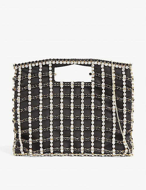ROSANTICA: Marlene crystal-net brass bag