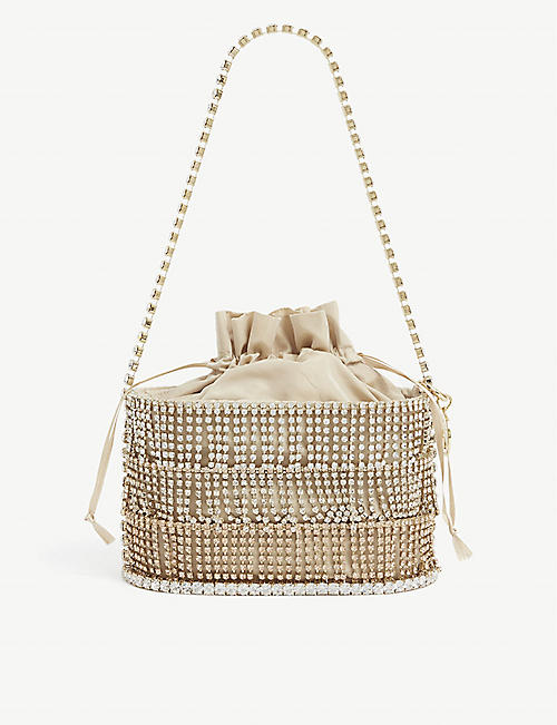 ROSANTICA: Holli Ginger crystal-embellished tassel and fabric shoulder bag