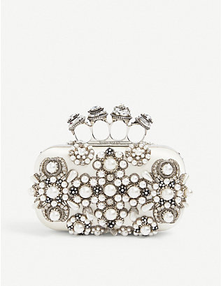 ALEXANDER MCQUEEN: Jewel-embellished four-ring satin box clutch bag