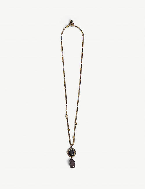 ALEXANDER MCQUEEN: Swarovski stone and brass necklace