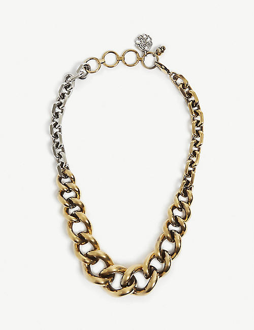 ALEXANDER MCQUEEN: Gold-tone and silver-tone curb chain necklace