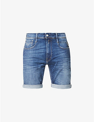 REPLAY: Anbass slim-fit stretch-denim shorts
