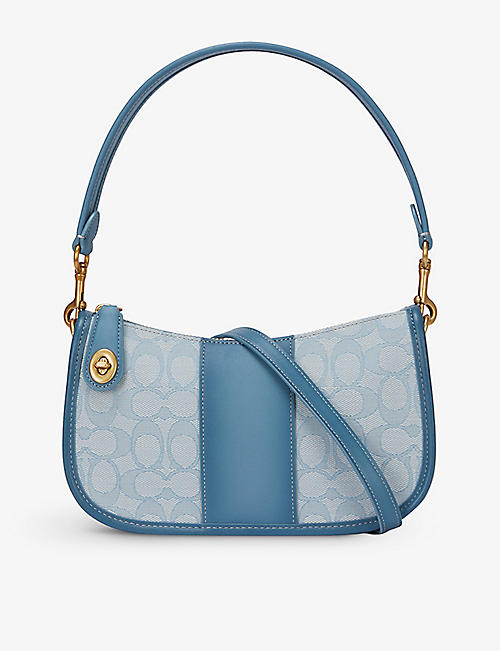 COACH: Swinger signature jacquard cotton-blend and leather shoulder bag