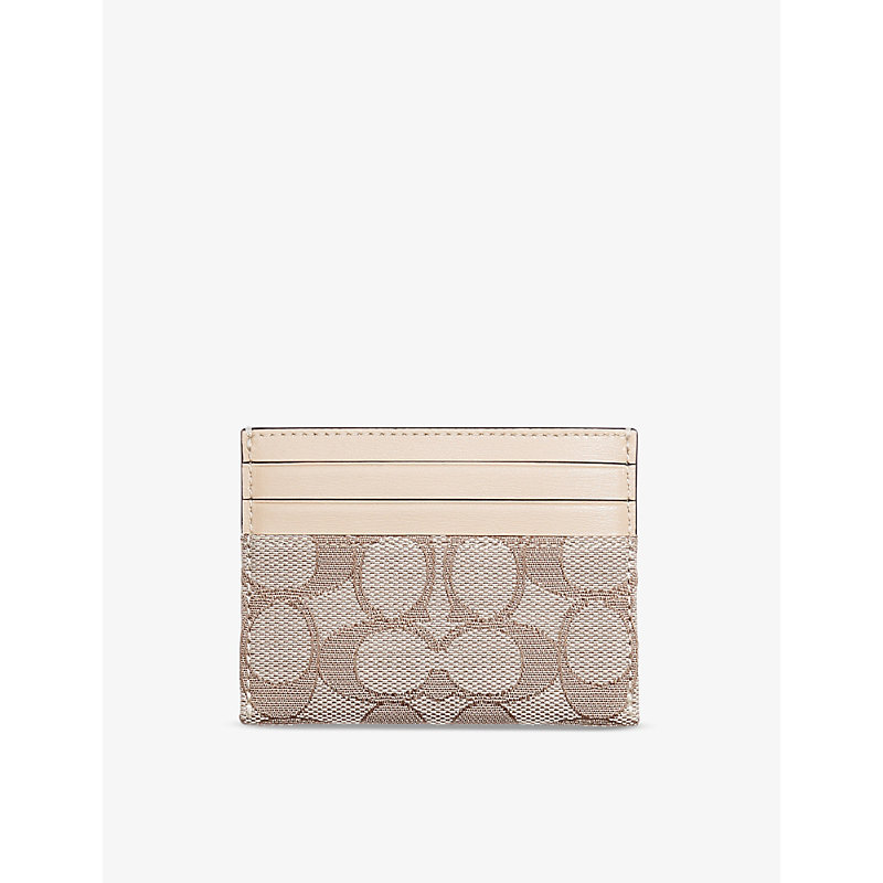 Coach SIGNATURE JACQUARD COTTON-BLEND AND LEATHER CARD HOLDER