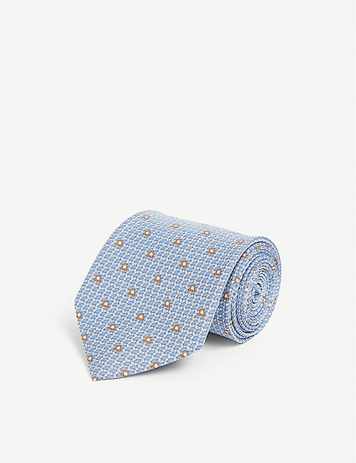 SALVATORE FERRAGAMO: Gianco-print silk tie