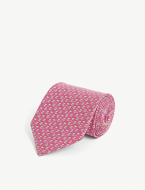SALVATORE FERRAGAMO: Graphic-print silk tie