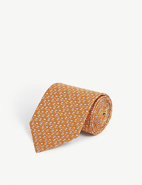 SALVATORE FERRAGAMO: Bee and Crown-print silk tie