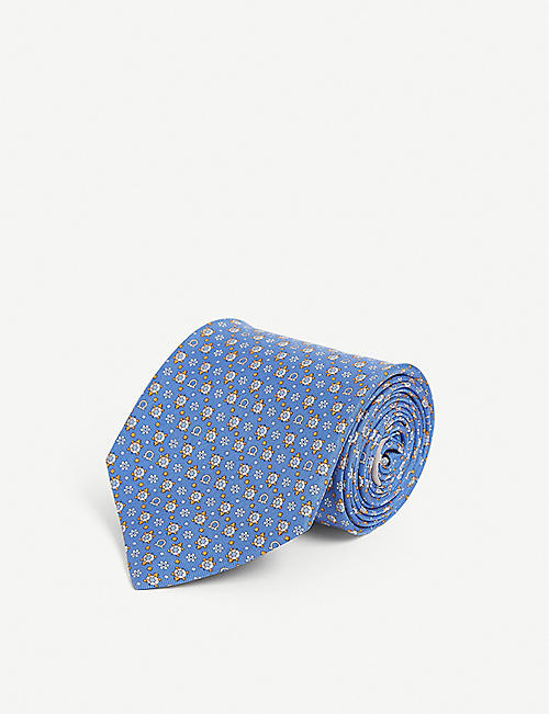 SALVATORE FERRAGAMO: Gianco and turtle-print silk tie