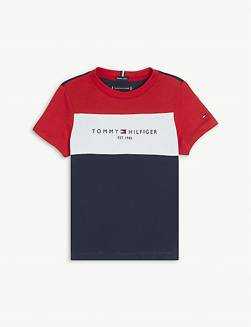 TOMMY HILFIGER: Colour-blocked cotton T-shirt 4-16 years