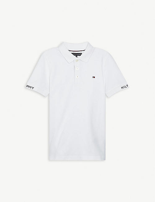 TOMMY HILFIGER: Logo-embroidered cotton polo shirt 4-16 years