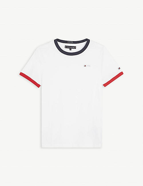 TOMMY HILFIGER: Ringer logo-embroidered cotton T-shirt 4-16 years