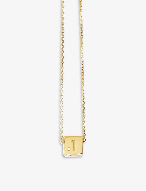 MAJE: Number 1 dice crystal and brass necklace