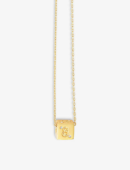 MAJE: Number 8 dice crystal and brass necklace