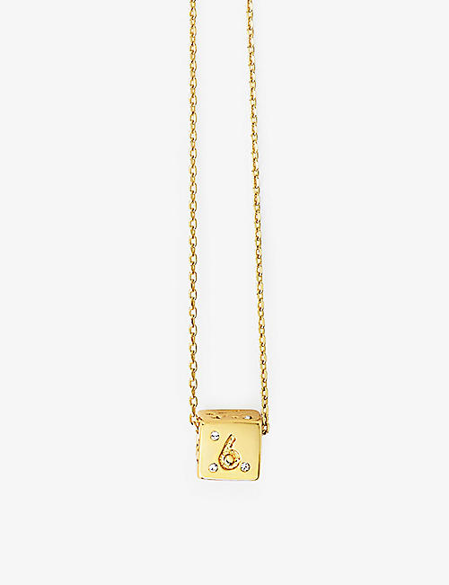 MAJE: Numbers 6 & 9 dice crystal and gold-tone necklace