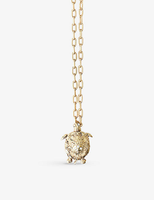 MAJE: Tortue brass and crystal necklace
