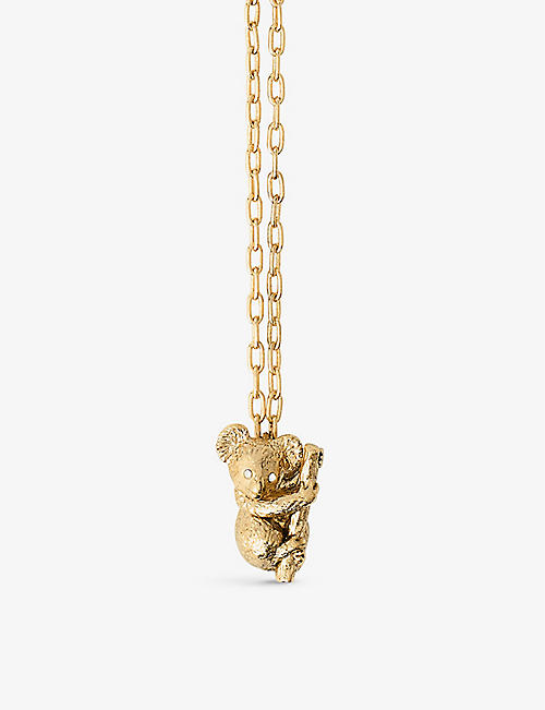 MAJE: Koala brass and crystal necklace
