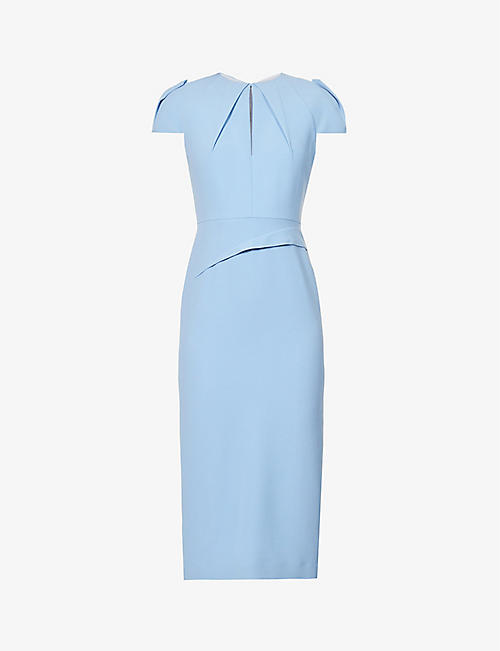 ROLAND MOURET: Eppleton cap-sleeved crepe midi dress