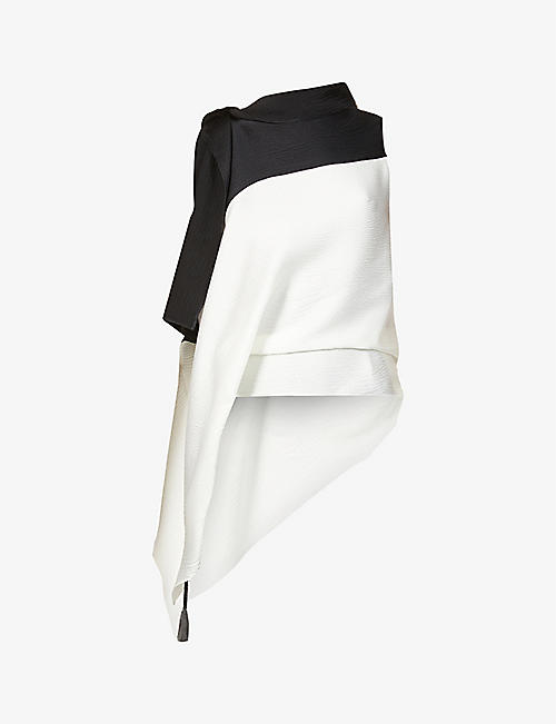 ROLAND MOURET: Tavistock draped stretch-silk blouse