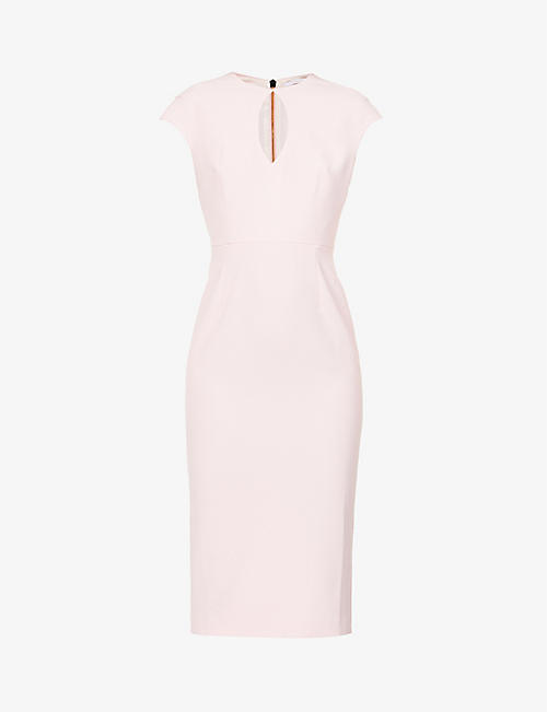 ROLAND MOURET: Chiswell cap-sleeved woven midi dress