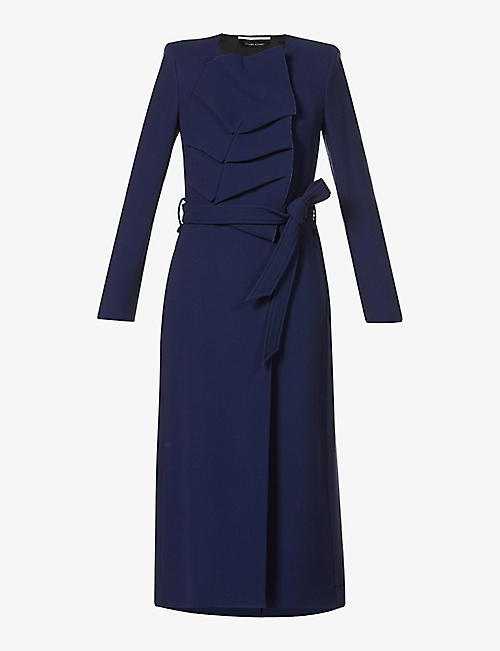 ROLAND MOURET: Edintore ruched wool-crepe coat