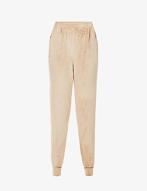 SKIMS: Velour tapered high-rise stretch-velour jogging bottoms