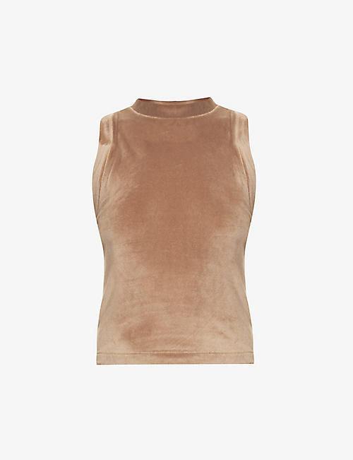 SKIMS: Velour cropped stretch-velour top