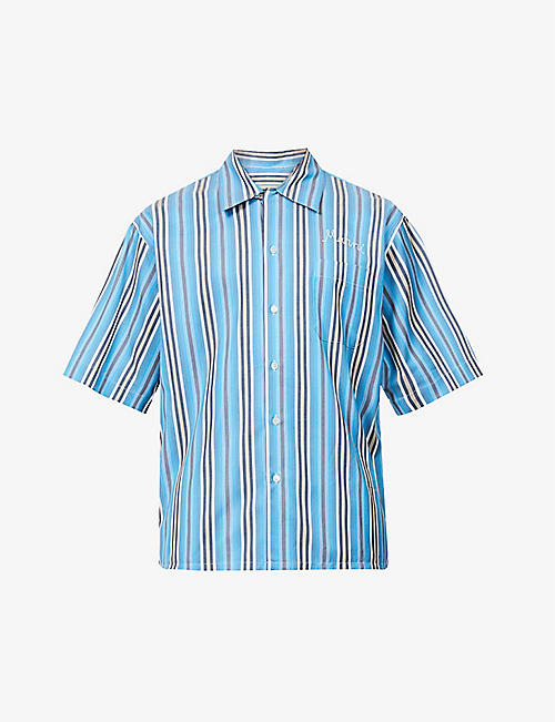 MARNI: Striped brand-embroidered cotton shirt