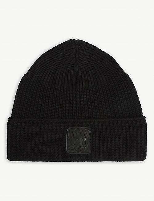 CP COMPANY: Logo-patch cotton beanie hat