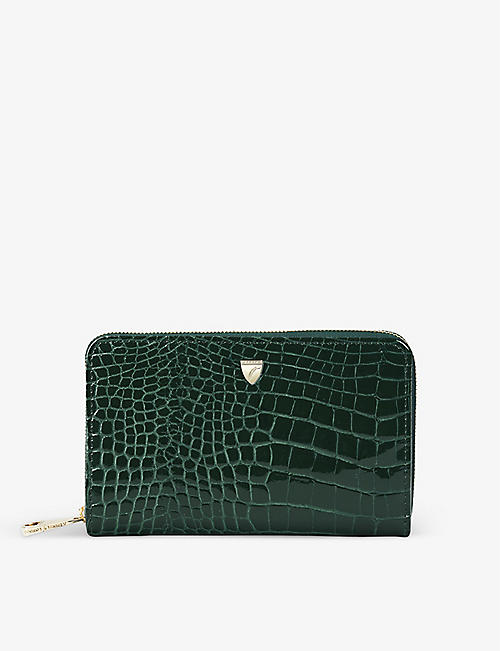 ASPINAL OF LONDON: Continental midi crocodile-embossed leather purse