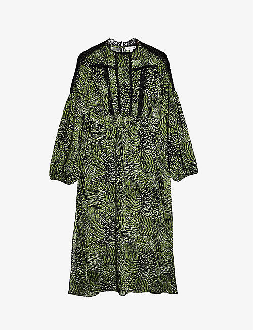 TOPSHOP: Animal-print lace midi dress