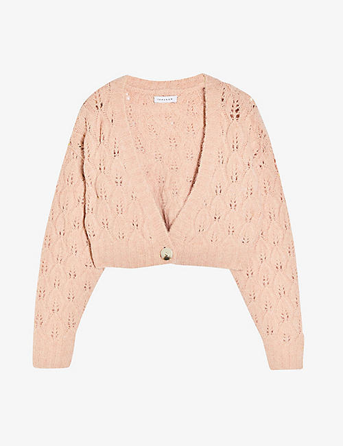 TOPSHOP: Cropped knitted cardigan