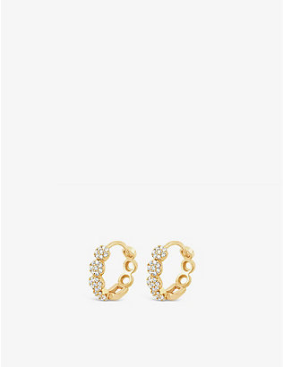 THE ALKEMISTRY: Dinny Hall Shuga 14ct yellow-gold and diamond pavé huggie hoop earrings