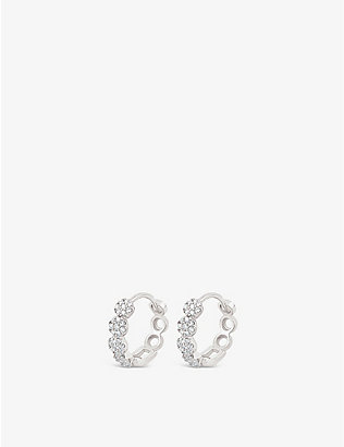 THE ALKEMISTRY: Dinny Hall Shuga 14ct white-gold and diamond pavé huggie hoop earrings