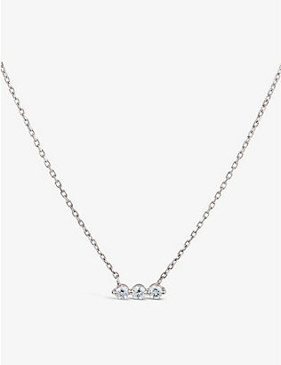 THE ALKEMISTRY: Dinny Hall Shuga 14ct white-gold and 0.18ct diamond necklace