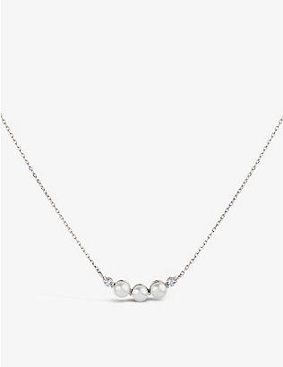 THE ALKEMISTRY: Dinny Hall Shuga mini 14ct white-gold, pearl and diamond necklace