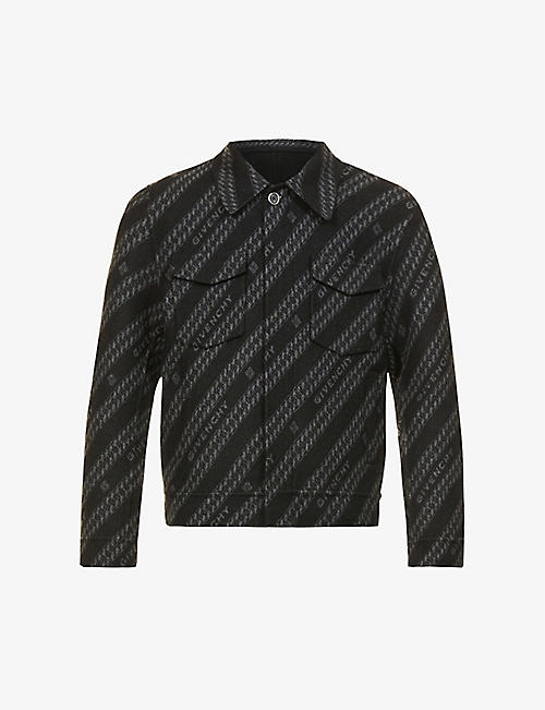 GIVENCHY: Logo-pattern wool, silk and cashmere-blend jacket