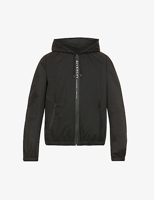 GIVENCHY: Logo-tape hooded shell jacket