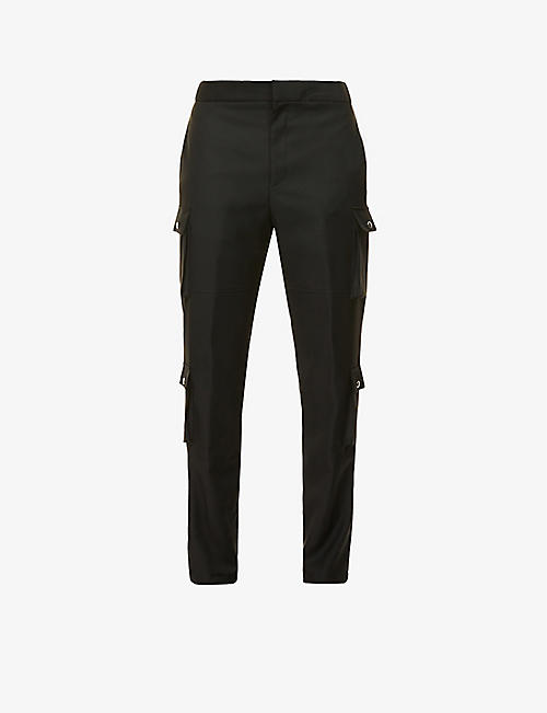 GIVENCHY: Tapered slim-fit mid-rise wool trousers