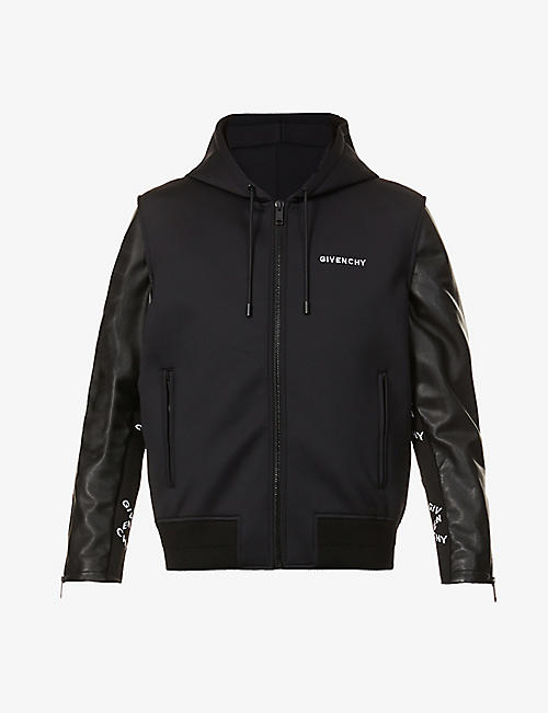 GIVENCHY: Brand-embroidered leather and shell hooded jacket