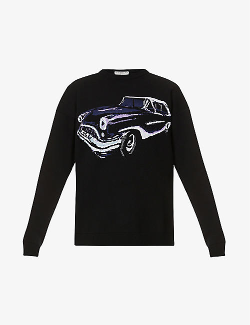 GIVENCHY: Graphic-pattern crewneck knitted jumper