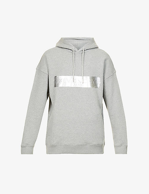 GIVENCHY: Logo-embossed relaxed-fit cotton-jersey hoody
