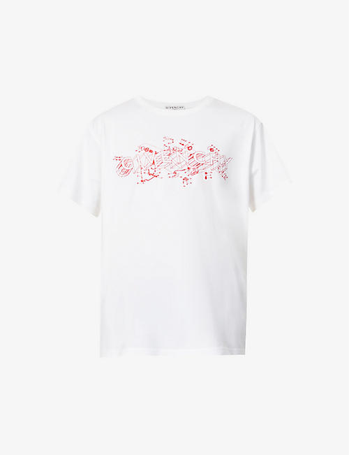 GIVENCHY: Schematics brand-print cotton-jersey T-shirt