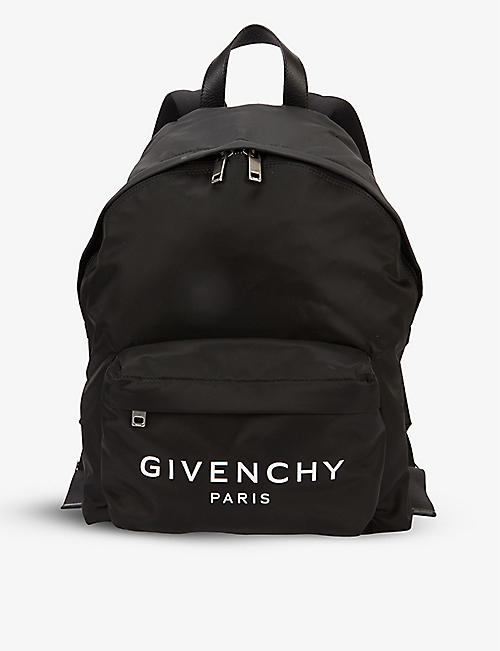 GIVENCHY: Paris brand-print shell backpack