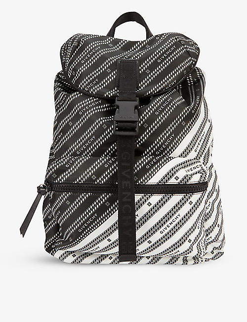 GIVENCHY: Brand-print zipped shell backpack