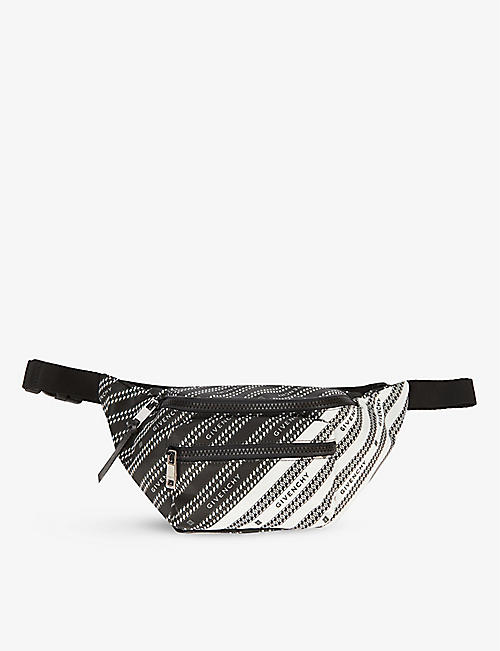 GIVENCHY: Brand-print zipped woven bum bag