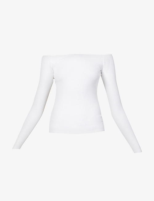 JOAH BROWN: Bardot long-sleeve stretch-jersey top