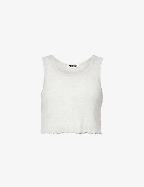 JOAH BROWN: Frill-hem ribbed stretch-jersey top