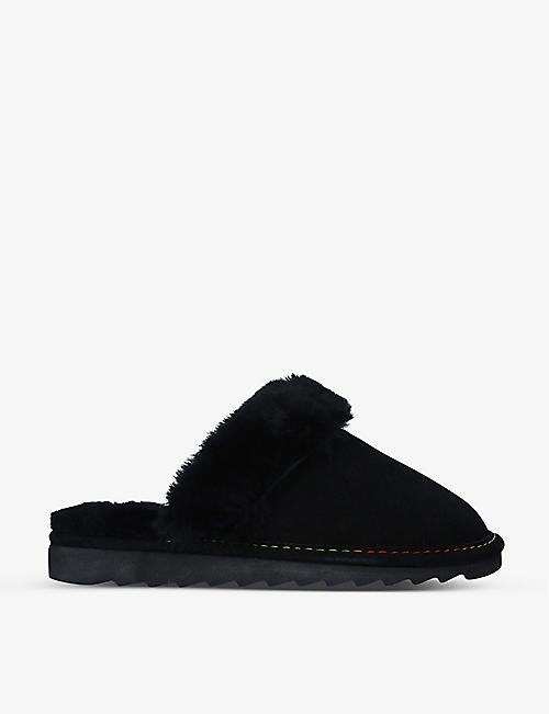 KURT GEIGER LONDON: Cosy suede and faux-shearling slippers